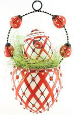 Patricia Breen Spring Egg Basket + Mini Egg Sculpture Ladybug set/2