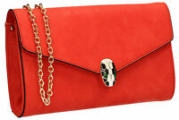Womens Faux Leather Snakehead  Blue Red White Black Ladies Party Prom Clutch Bag