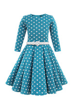 Kids New Blue Vintage Hearts 50's Party Girls Prom Dress Size 3-4 YRS