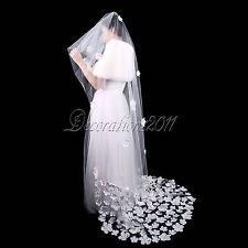 Elegant 1 Tier Tulle Long Wedding Veil with Lace Flower Petal Bridal Decorations