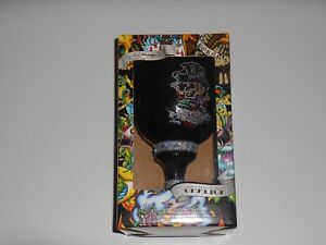 New Don ED HARDY by Christian Audigier Black Glass CHALICE Skull Hat Tattoo Cup
