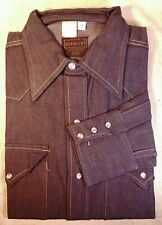 1972 Sears Roebucks Denim Western Shirt Pearl Snap Nos Unworn Mens M 15 1/2 vtg