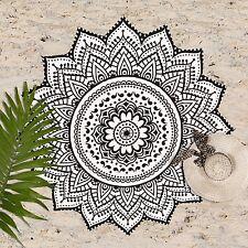Round White & Black Mandala Tapestry - Gypsy - 100% Cotton - Yoga Mat, Beach Tow