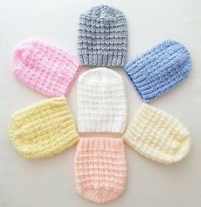 2pk Hats 3-5lbs or 5-7lbs Tiny Baby Premature Girls Boys Hand Knitted