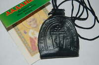 2 pcs Christian leather amulet (ladanka) with incense