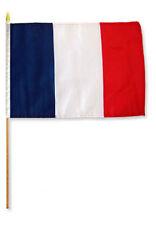 """12x18 12""""x18"""" France Stick Flag wood staff"""