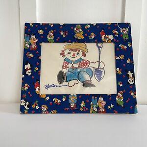 1973 Raggedy ANDY Farmer Sketch Blue Fabric Frame Baby Boy Nursery Bedroom Decor