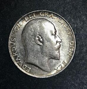 Great Britain 1910 Edward VII Shilling, Lustrous AU/BU