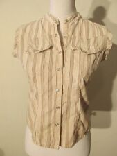 "S7310 Rubbish Women's Small Tan Striped ""Redneck Grunge"" Sleeveless Shirt"