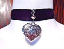 BLACK VELVET CHOKER W/ SILVER HEART PENDANT gothic romantic classic necklace T6