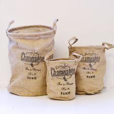 Shabby Cottage Chic Burlap Storage Baskets French Vintage Style