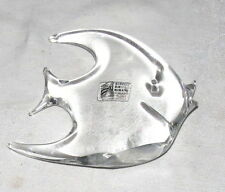 "Rubelli V.A. Murano 5"" Clear Glass Angel Fish Paperweight - Made in Italy"