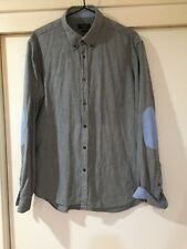 Zara Man Mens Grey Button Front Shirt Size Large Good Condition