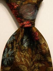 ERMENEGILDO ZEGNA Men's 100% Silk Necktie ITALY Luxury FLORAL Brown/Multi EUC