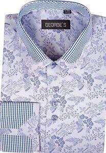 Men's Cotton Blend Double Collar Floral Design Casual Dress Shirts