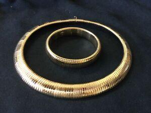 Vintage Matching Collar Necklace & Bracelet Set Gold Tone