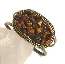 Antique Brass Gold Luk Genuine Semi-precious Tigers Eye Stone Reiki Bangle Cuff