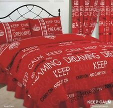 DOUBLE BED DUVET COVER SET KEEP CALM AND CARRY ON DREAMING RED CROWN
