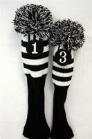 NEW Driver #1 + #3 Vintage Pom Pom Head Cover Knit Sock Black Golf Headcover