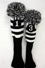 NEW Driver #1 + #3 Vintage Pom Pom Head Cover Knit Sock Black Golf Headcover