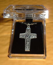 POPE FRANCIS PAPAL 1 7/8 in Cross Silver Pld Pendant/Necklace 19 in LRG ITALY