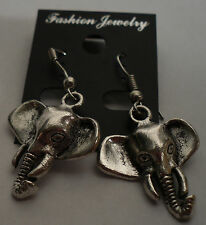 Jungle Elephant Tibet Silver Earrings Silver French Hooks FREE SHIPPING #E98