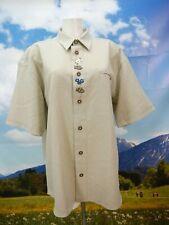 Gr.XL Trachtenhemd beige kurzarm mit Enzian und Edelweiß Stickerei Hemd TH2014