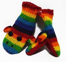 Child Toddler Winter Knited handmade 100% Wool W Fleece lining Mittens Gloves