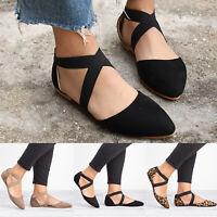 Ladies Ankle Strap Ballerina Women Ballet Flats Pumps Summer Autumn Shoes 6-10.5