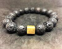 Lava 925er sterling Silber vergoldet Armband Bracelet Perlenarmband schwarz 12mm