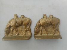 Vintage Pair Solid Brass Horse Cowboy Saddle Bookends Western Decor