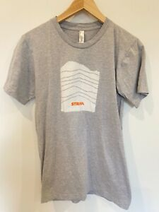 American Apparel T-Shirt Size Small Grey Strava Logo Basic Cycling