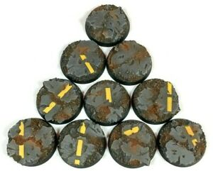Industrial Road- Round Resin Bases 32 mm - 10 Painted/Unpainted Bases Warhammer