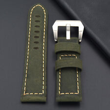 Leather strap in 22mm - Green 22/20mm compatible with Panerai watch, Breitling