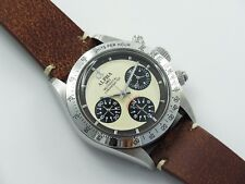 ALPHA WATCH DAYTONA IVORY DIAL BLACK BEZEL PAUL NEWMAN MECHANICAL CHRONOGRAPH
