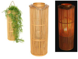 Brand New Bamboo Planter Lamp Holder w Natural Finish Garden Decor 70 cm
