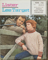 "Lister Knitting Pattern 948 Fair Isle Cable Polo Sweater Aran 26-32"" Vintage NEW"