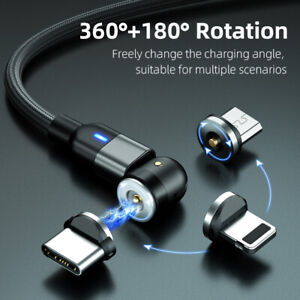 540° - 360°/180° Fast Magnetic Charger Cord Type C / Micro USB and lOS Plugs