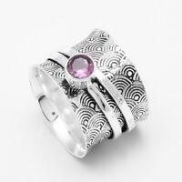 Amethyst Solid 925 Sterling Silver Spinner Ring Meditation ring statement ring 9