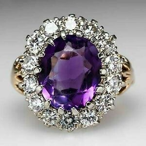 5Ct Oval Amethyst Simulant Diamond Halo Solitaire Ring Yellow Gold Finsh Silver