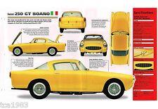1956 / 1957 / 1958 FERRARI 250 GT BOANO SPEC SHEET / Brochure / Photo's