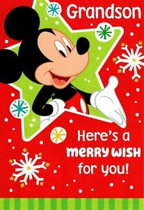 Walt Disney Merry Christmas Grandson Mickey Mouse Theme Hallmark Card