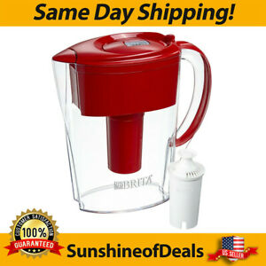 Red 6 Cup Water Filter Pitcher Small W/ 1 Standard Filter Flip Top Lid BPA Free
