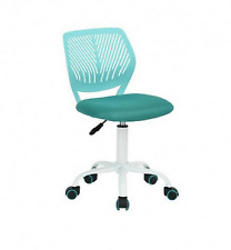 Office Task Desk Armless Chair Adjustable Mid Back Swivel Study Chair Turquoise