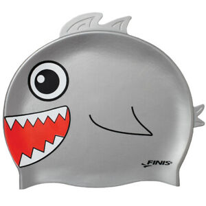 Finis Youth Animal Head Shark Silicone Swim Cap Gray New in Package