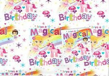 Quality UNICORN and PRINCESS Birthday Wrapping Paper and gift card Tag