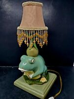 """Collectible Green Frog On A Base Lamp About 13"""" Tall (Shade Not Included)"""