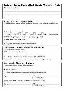 Duty of Care, Controlled Waste Transfer Note pad, A5 2 part Carbonless Paper