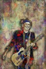 Keith Richards Pop Art Poster, Rolling Stones Art Print 12x18in Free Shipping