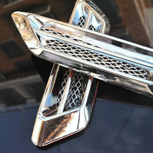 1 Pair Chrome Car Truck Air Flow Fender Side Vent Decor Sticker Auto Accessories